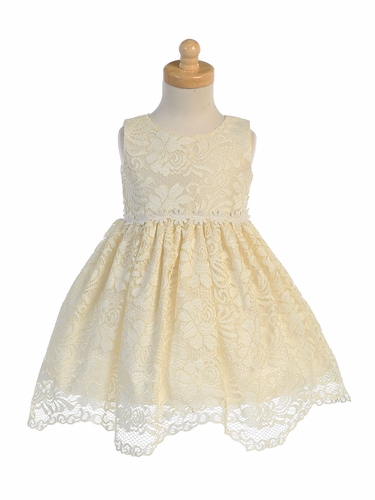 Swea Pea & Lilli M742 Yellow Lace With Floral Trim Dress