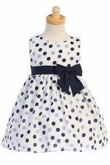Swea Pea & Lilli M746 Navy Cotton Linen Polka-Dot Dress