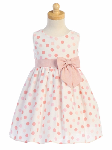 Swea Pea & Lilli M746 Peach Cotton Linen Polka-Dot Dress