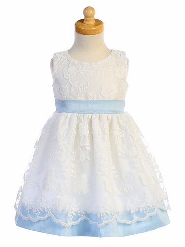 Swea Pea & Lilli M748 White Embroidered Mesh w/ Light Blue Poly Silk Trim