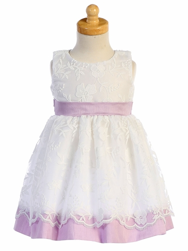 Swea Pea & Lilli M748 White Embroidered Mesh w/ Lilac Poly Silk Trim