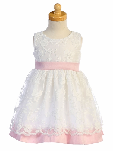 Swea Pea & Lilli M748 White Embroidered Mesh w/ Pink Poly Silk Trim