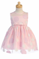 Swea Pea & Lilli M753 Pink Polka-Dot Tulle Dress