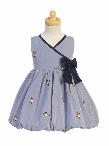 Swea Pea & Lilli M756 Navy Stripped Dress w/ Embroidered Flowers