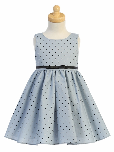 Swea Pea & Lilli M758 Blue Polka Dot Dress w/ Belt