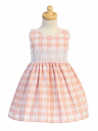 Swea Pea & Lilli M759 Blush Heart Checkered w/ Lace Trim Dress