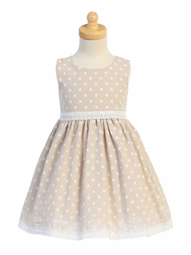 Swea Pea & Lilli M760 Khaki Chambray Polka Dot Dress