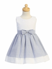 Swea Pea & Lilli M761 Blue Embroidered Eyelet w/ Seersucker Skirt