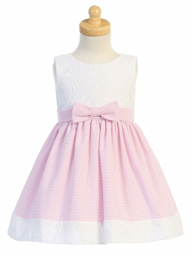 Swea Pea & Lilli M761 Pink Embroidered Eyelet w/ Seersucker Skirt