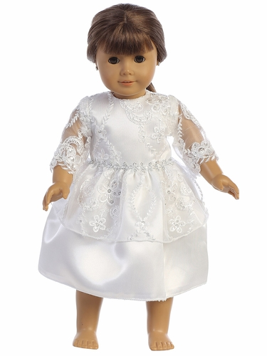 Swea Pea & Lilli SP165 Embroidered Lace w/ Sequin Tulle 18'' Doll Dress