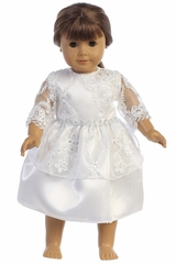 "Swea Pea & Lilli SP165 Embroidered Lace w/ Sequin Tulle 18"" Doll Dress"