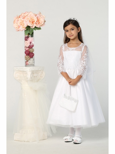 Swea Pea & Lilli SP172 3/4 Sleeve Lace Dress w/ Waist Applique