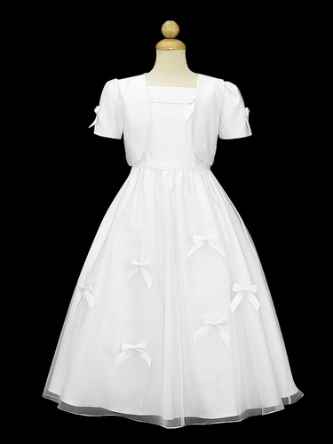 Swea Pea & Lilli SP553 White Matte Satin Bow Communion Dress w/ Bolero