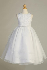 Swea Pea & Lilli SP604 White Beaded Embroidered Organza Dress w/ Rhinestone Trim