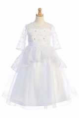 Swea Pea & Lilli SP630 White Shiny Lace Overlay Dress