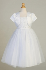 Swea Pea & Lilli SP641 White Beaded Tulle Dress w/ Rhinestone Trim & Bolero
