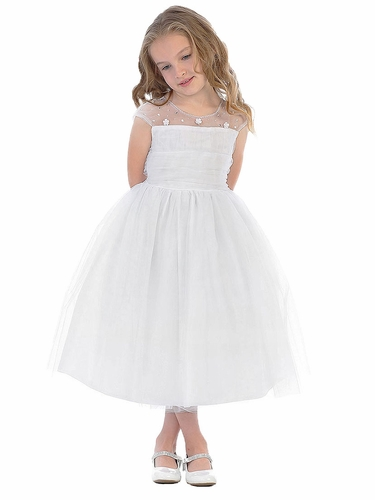 Swea Pea & Lilli SP644 White Illusion Neckline w/ Double Ruched Bodice