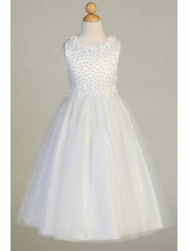 Swea Pea & Lilli SP645 Satin With Pearl Accents And Tulle Dress