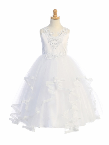 Swea Pea & Lilli SP707 Satin w/ Floral Applique & Ruffled Tulle Dress