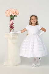 Swea Pea & Lilli SP708 Classic Satin Trim Dress w/ Button Up Back & Bow