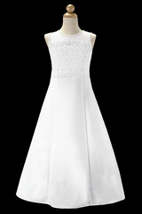 Swea Pea & Lilli SP753 White Crochet Lace Matte Satin A-line Communion Dress