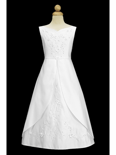 Swea Pea & Lilli SP843 White Matte Satin Embroidered A-line Communion Dress