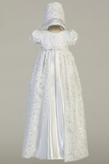 Swea Pea & Lilli Suzana White Shiny Satin & Lace Christening Gown