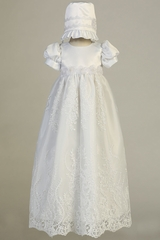 Swea Pea & Lilli Willow White Satin Bodice w/ Embroidered Tulle Long Gown & Bonnet