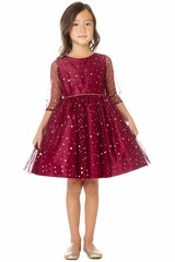Sweet Kids SK672 Burgundy w/ Gold Star & Dot Soft Mesh Dress