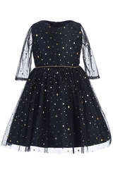 Sweet Kids SK762 Navy w/ Gold Star & Dot Soft Mesh Dress