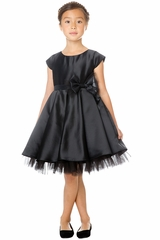 Sweet Kids SK711 Black Full Pleated Satin w/ Oversized Bow