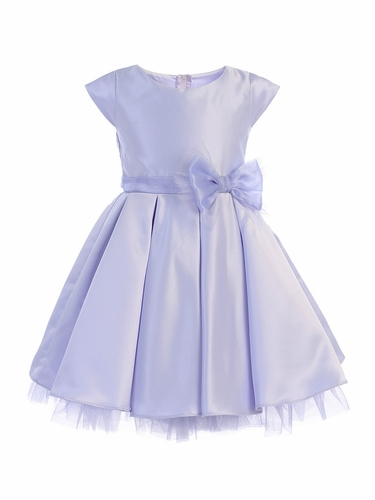 Sweet Kids SK711 Lilac Full Pleated Satin w/ Oversized Bow