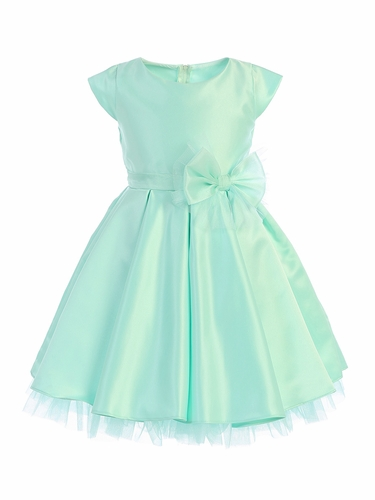 Sweet Kids SK711 Mint Full Pleated Satin w/ Oversized Bow