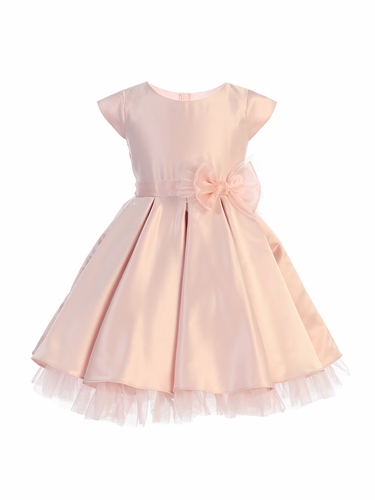 Sweet Kids SK711 Pink Full Pleated Satin w/ Oversized Bow
