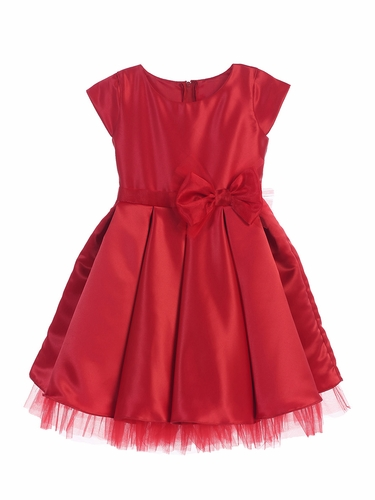 Sweet Kids SK711 Red Full Pleated Satin w/ Oversized Bow