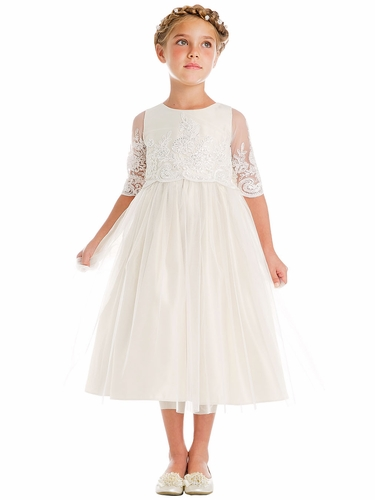 Sweet Kids SK748 Off-White Sequin & Cord Embroidered Mesh ¾ Sleeve Dress