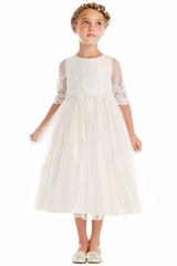Sweet Kids SK748 Off-White Sequin & Cord Embroidered Mesh w/ Sleeves Dress