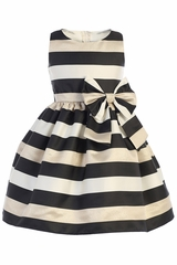 Sweet Kids SK749 Black Stripe Satin w/ Champagne Gold Dress