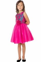 Sweet Kids SK760 Fuchsia Floral Jacquard Dress w/ Crystal Tulle