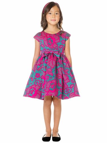 Sweet Kids SK761 Fuchsia Floral Jacquard Dress w/ Bow