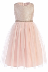 Sweet Kids SK764 Rose Ornate Imperial Brocade Dress w/ Crystal Tulle