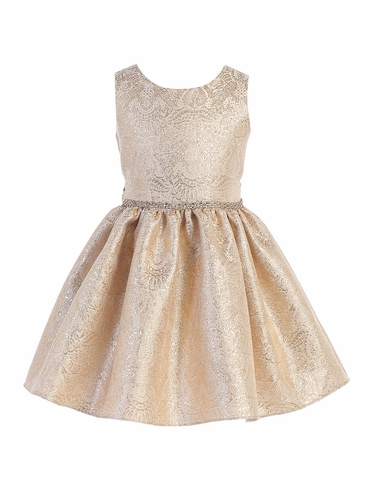 Sweet Kids SK765 Champagne Ornate Imperial Brocade w/ Oversize Back Bow Dress