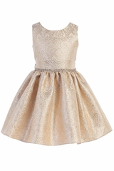 CLEARANCE - Sweet Kids SK765 Champagne Ornate Imperial Brocade w/ Oversize Back Bow Dress
