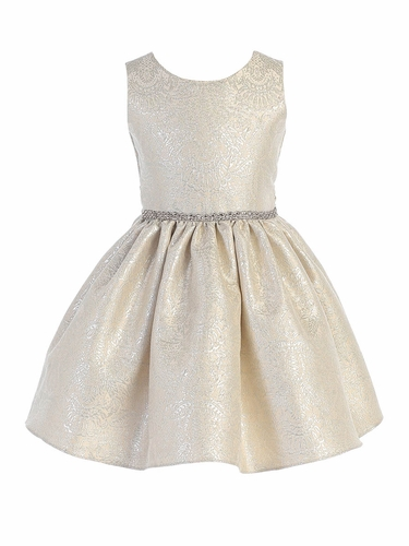 Sweet Kids SK765 Silver Ornate Imperial Brocade w/ Oversize Back Bow Dress