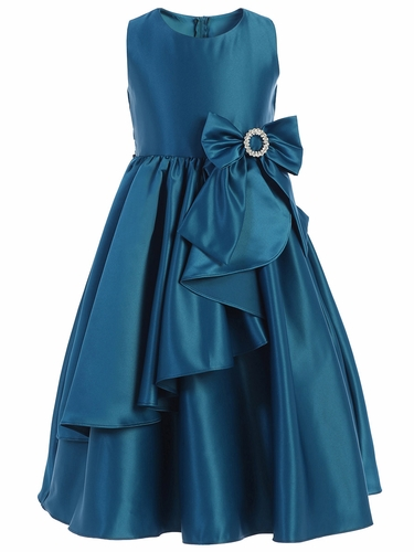 Sweet Kids SK772 Peacock Cascading Satin w/ Oversized Bow & Brooch