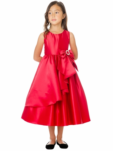 Sweet Kids SK772 Red Cascading Satin w/ Oversized Bow & Brooch