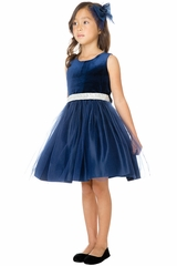 Sweet Kids SK773 Navy Velvet Mesh Dress w/ Rhinestone Waist