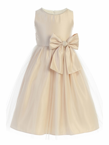 Sweet Kids SK781 Champagne Satin and Pearl w/ Tulle