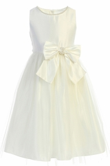 Sweet Kids SK781 Ivory Satin and Pearl w/ Tulle