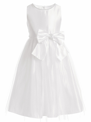 Sweet Kids SK781 White Satin and Pearl w/ Tulle